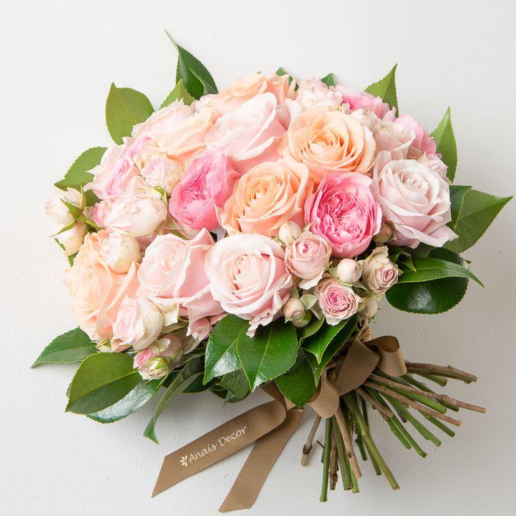 Μπουκέτο με ροζ σωμόν τριαντάφυλλα