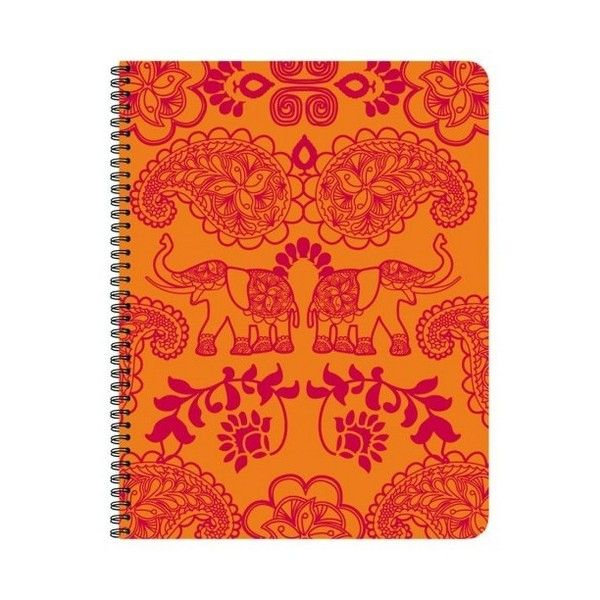Bollywood, Cahier Polypro Reliure Intégrale Orange Elépha... en vente... ❤ liked on Polyvore featuring backgrounds and orange