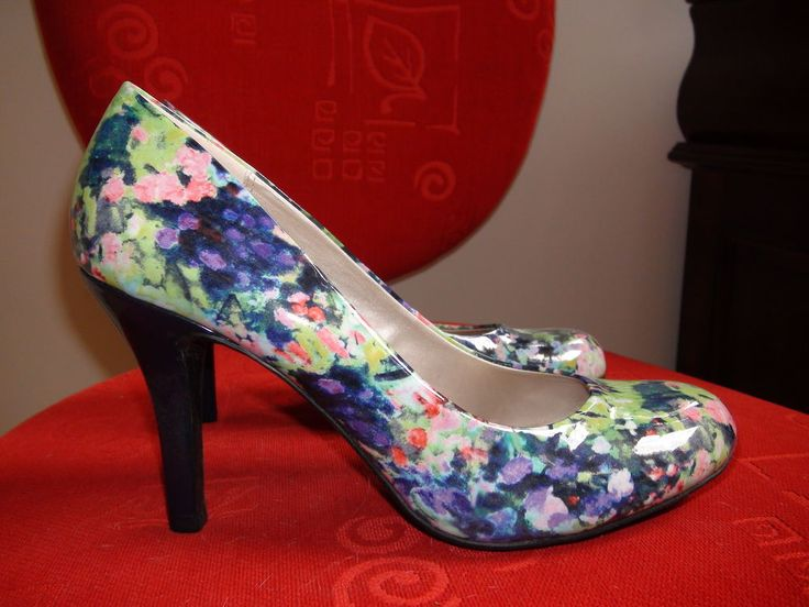 9 & co Ladies Shoes size 11M Blue Floral High Heel 4,5 in #9co #Stilettos #Party