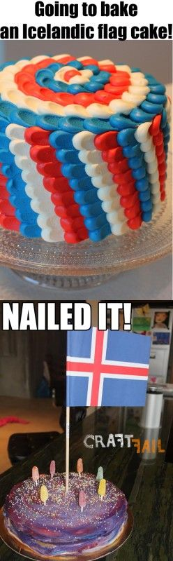 Iceland flag cake nailed it