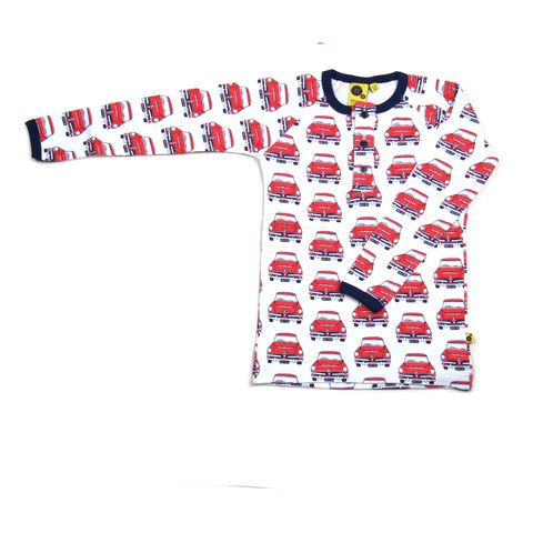 Krutter retro car print is perfect for any little car lover.  It's 100% cotton, certified Oeko-Tex.  The long sleeve T-shirt is white with a red car print. The neck line and wrist cuff is navy blue trim.  The buttons at front and the button lining is navy blue. Made in Greece.$56.95