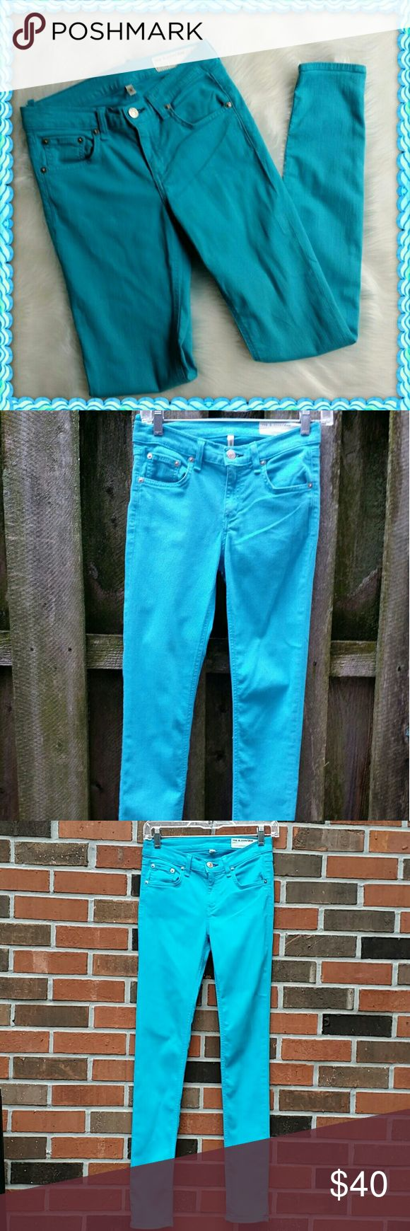 "Rag & Bone skinny pants size 25 Cotton, tencel and spandex.  Robins egg blue . 13.5 "" across the waist.  8 "" from the waist to the crotch.  31 "" from the crotch to the hem.  5 "" leg opening.  Very good condition. rag & bone Pants Skinny"
