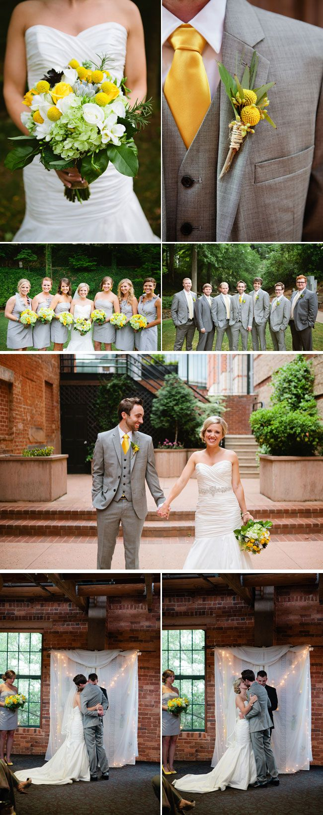 grey and yellow inspirations...grey suit with the yellow tie looks great! With sunflower bouquet  #rockmyspringwedding @Rock My Wedding