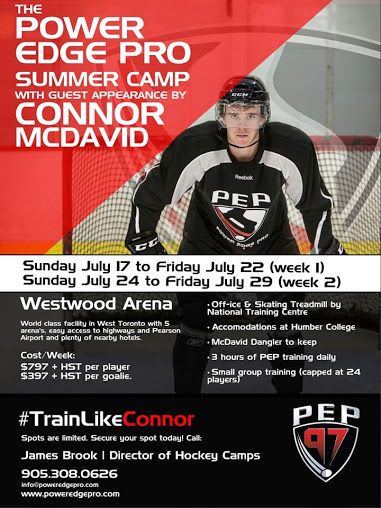 Power Edge Pro Summer Hockey Camp featuring a guest appearance from Connor McDavid. Email james@poweredgepro.com to learn more and/or register. — at Westwood Arenas.  #PEPHockeyTraining   #TrainLikeConnor   #HockeyCamp   Power Edge Pro Hockey Training Grimsby - Google+