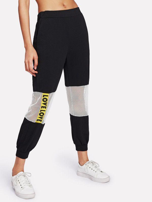 6b6e642ff2 Contrast Fishnet Letter Tape Sweatpants -SheIn(Sheinside) | outfit ...