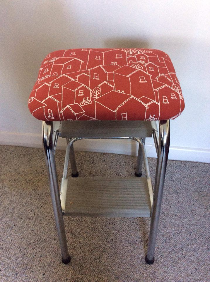 Grandmas Upcycled kitchen stool.  Eco Ply, natural latex and hemp & organic cotton.   #naturallatex #inkandspindle #vidatextiles