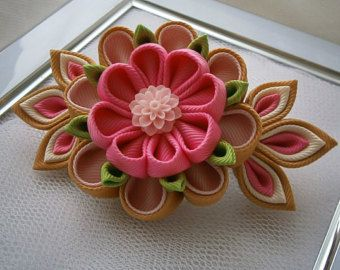 Handmade Kanzashi Tsunami fabric flower grosgrain ribbon french barrette - hair accessories in UK,shipping worldwide