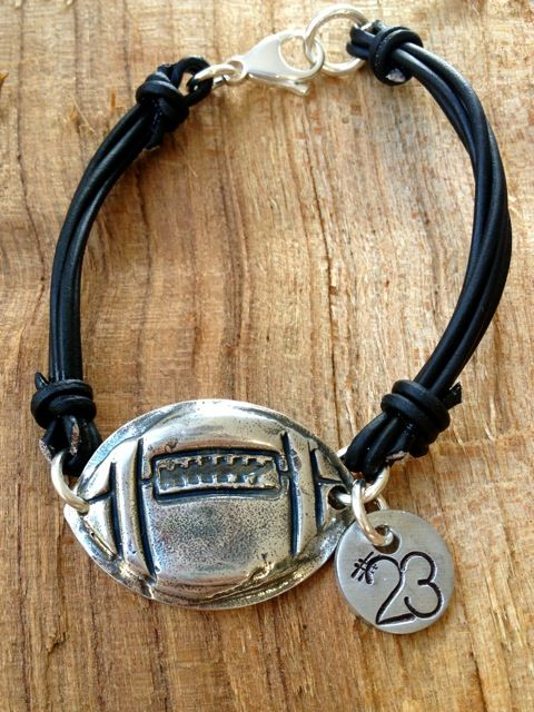 Football Leather Bracelet-football bracelet