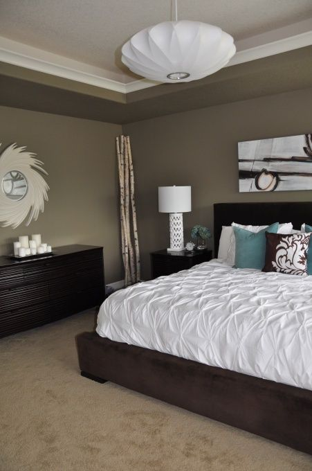 brown and blue bedroom master. I love the comforter but it would have cat hair all over it in 10 seconds.