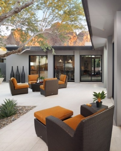 Wicker furniture for the patio: Carson Poetzl, Patio Design, Idea, Outdoor Living, Color, Furniture, Outdoor Spaces, Outdoor Area, Modern Patio