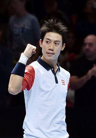 男子テニスのATPツアー・ファイナルでマリーに快勝し、ガッツポーズする錦織圭=9日、ロンドン(AFP=時事) ▼10Nov2014時事通信|「違う自分」信じ快勝=錦織、苦手マリーを攻略-男子テニス最終戦 http://www.jiji.com/jc/zc?k=201411/2014111000546 #Kei_Nishikori #ATP_World_Tour_Finals_2014