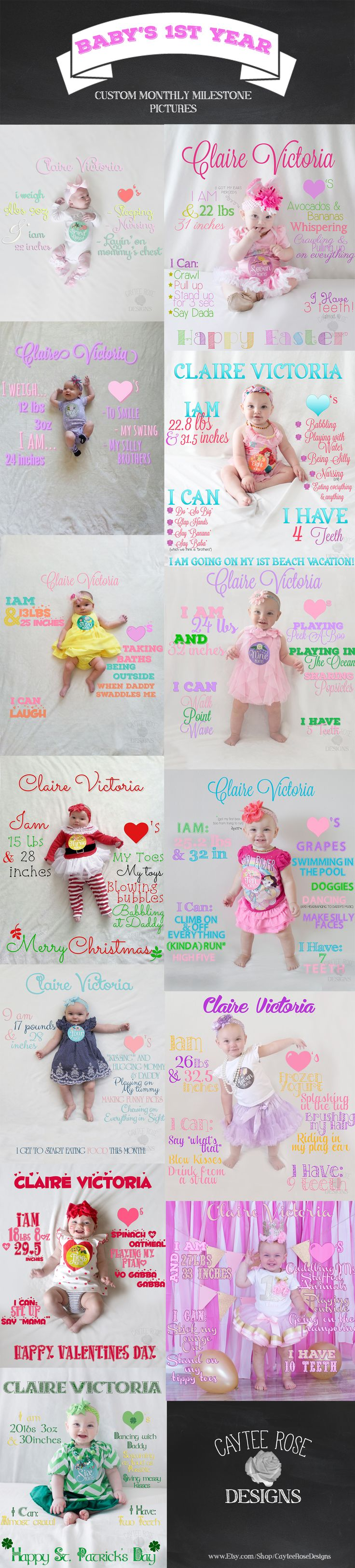 Get your own CUSTOM 12 month milestone for you baby's 1st year!! Starting at just $10!