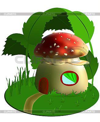 Сказочный дом-гриб | Векторный клипарт | ID 3014329