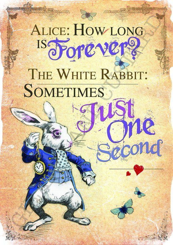 Alice im Wunderland Instant Download Wall Art – Printable A4 Poster – das weiße Kaninchen wie lange ist immer Zitat
