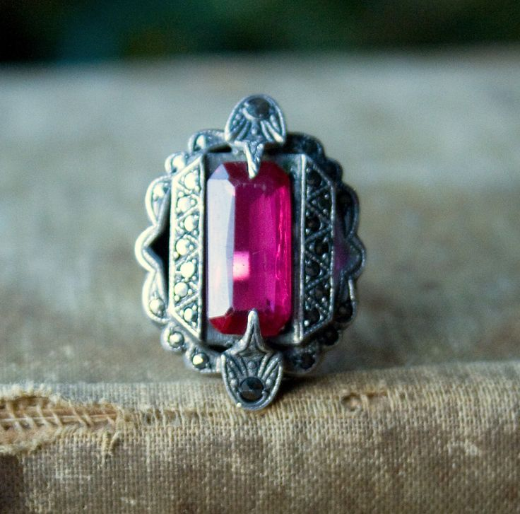 Vintage ART DECO ring - Flapper Cocktail Ring - 1920s Jewelry - Ruby Red Jewel and Marcasite - Sterling Silver. $105.00, via Etsy.