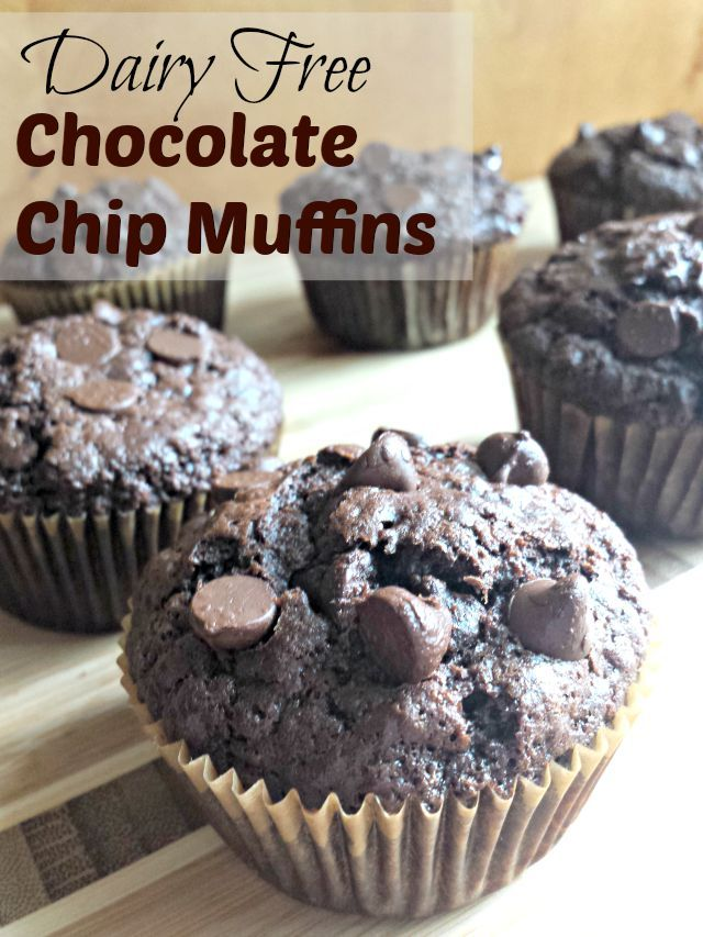 These dairy-free Chocolate Chip Muffins are quick and easy to make. Prepping them take just the ten minutes you'll need to preheat your oven to 425 degrees, and baking takes only another 15-18 minutes. Fresh, hot dairy free chocolate chip muffins in a half hour? Yes, please.