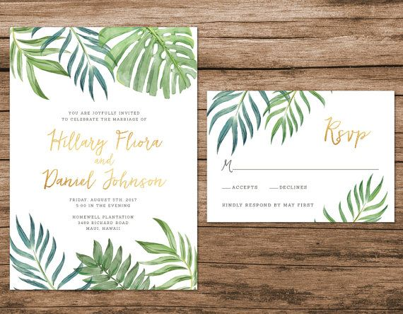 Tropical Leaves Wedding Invitation, Botanical Wedding Invitation, Destination…