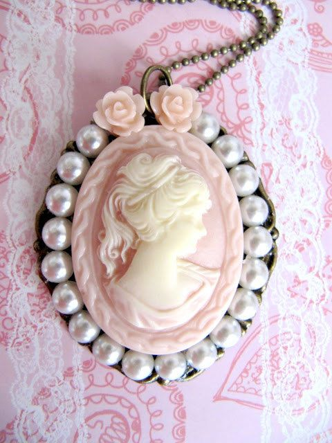 Cameo pendant necklace jewelry pink victorian