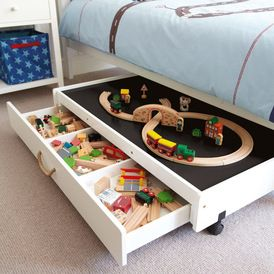 Storage is so important in children's bedrooms. This drawer system on castor wheels is easily to move and doubles as a great table top for a number of different activities.
