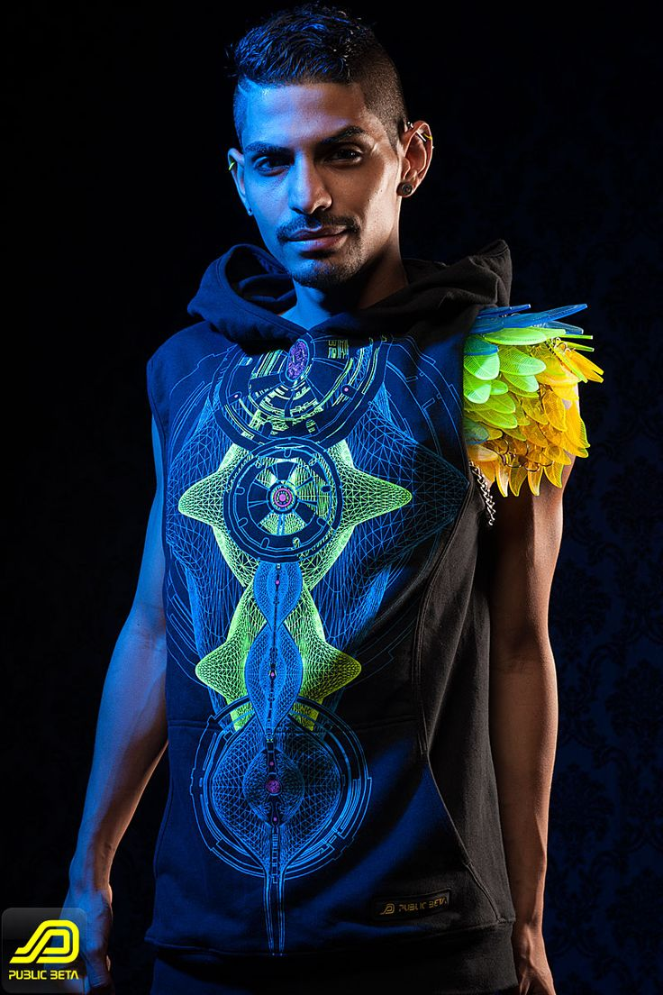 Neuron D52  Uv Vest - by Public Beta Wear Psychedelic cyber visions on clothing, blacklight t-shirt, vest. Digital arts on t-shirt. Festival fashion, party wear.  Clothing: Public Beta Wear, Model: Victor Psybotic, Accessories: Electric Candy Couture, Photography: Ted Zav Studio NY, #publicbetawear #partywear #blacklightclothing