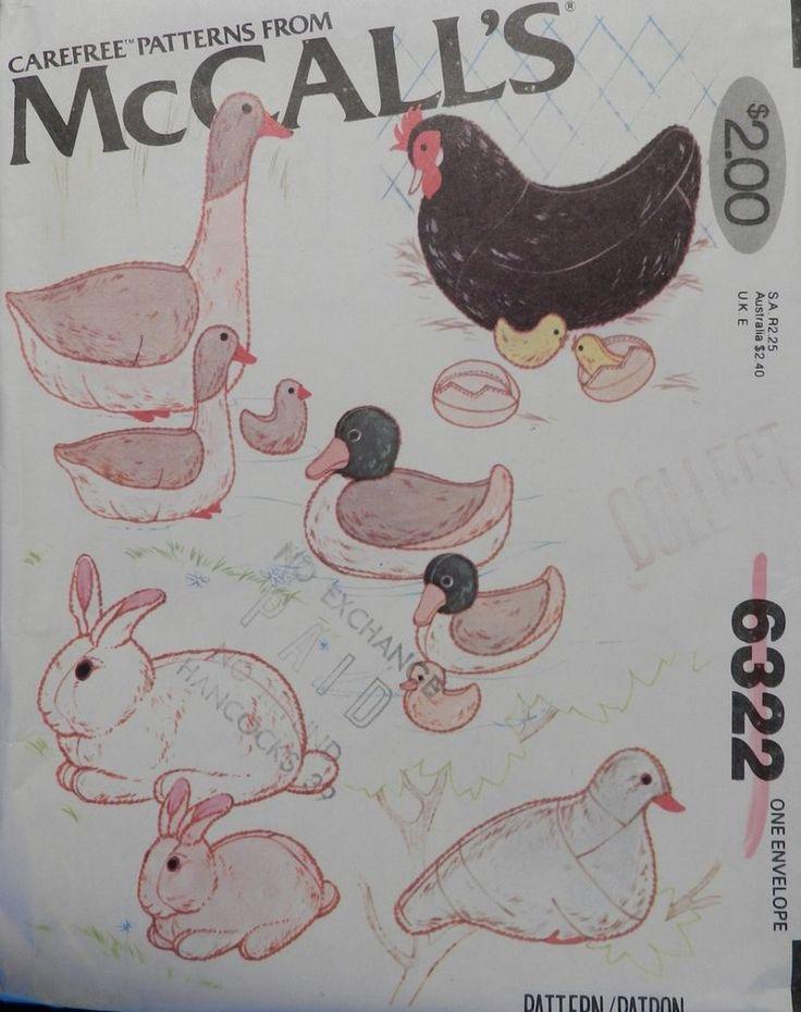 Vtg McCall 6322 Duck Goose Rabbit Chicken Pigeon Stuffed Animal PATTERN UnCUT