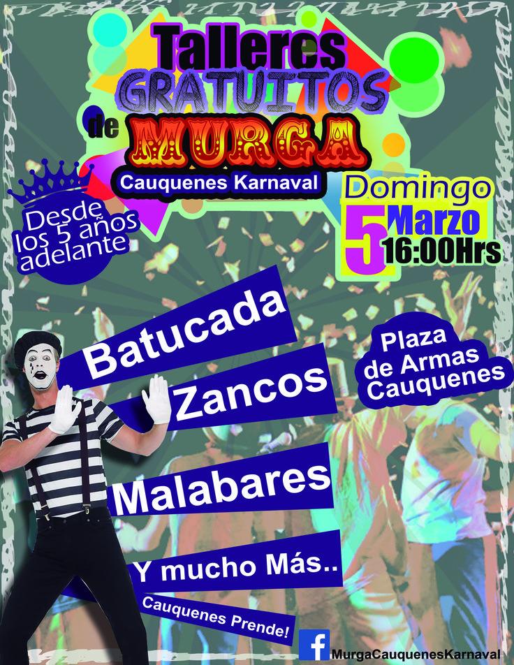 Afiche gratuito para murga karnaval cauquenes una linda iniciativas para los jovenes.
