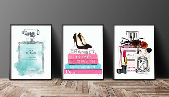 Set of 3 fashion inspired posters -The silver is an effect, a photo of silver foil- -silver effect on one book title & large bottle outline  This listing is for the above 3 prints, but if you would like to swap around colors or flower styles, just message me and I will be happy to list a new combo for you..  - You will receive one of each print, 3 in total. - Dimensions: select from drop down menu - 8x10 inches 12x16 inches, 12x18 inches,16x20 inches,18x24 inches - 24x36 inches is availab...