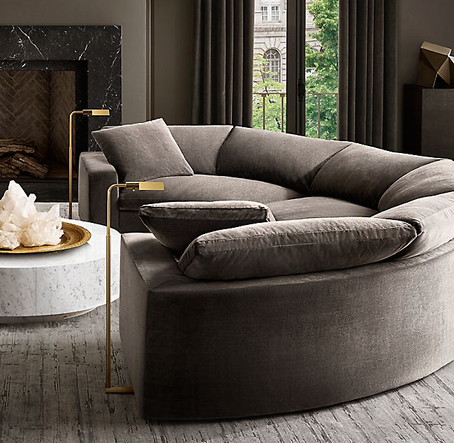 Cloud Curve Semicircle Sectional Curved Sofa Black Living Room Modern Sofa Living Room