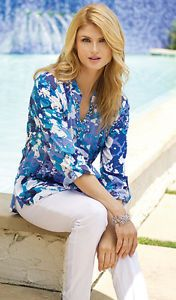 Gorgeous-Jeweled-Designer-Tunic-By-Multiples-NWT-Medium-to-2X-sizes-Blue-purple