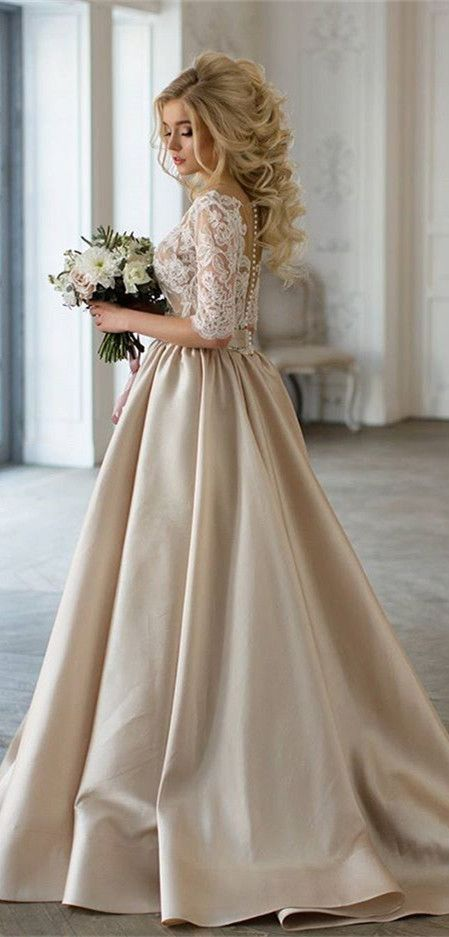 Elegant champagne wedding dresses with lace half sleeves, new ...