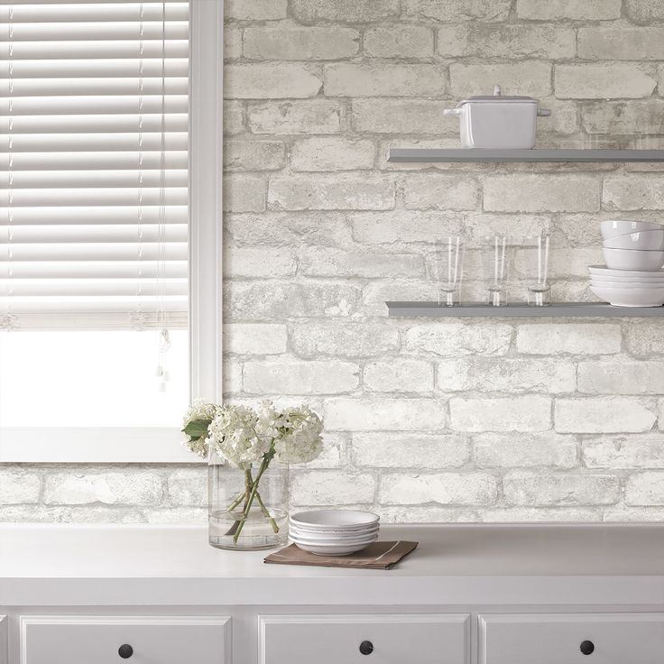 Fashion Your Own Brick Wall In A Matter Of Minutes With This Chic WallPOPs  Grey And White Brick Peel And Stick Wallpaper.