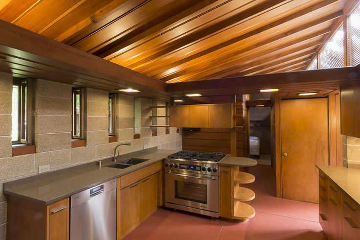 Albert and edith adelman house usonian style fox point for Frank lloyd wright kitchen ideas