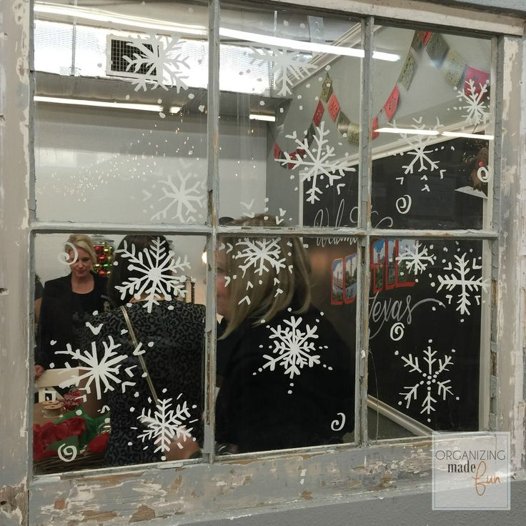 Snowflakes on window using chalk ink markers :: OrganizingMadeFun.com