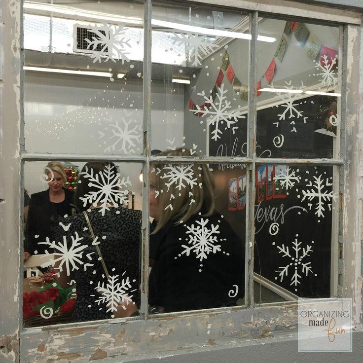 Snowflakes on window using chalk ink markers :: OrganizingMadeFun.com