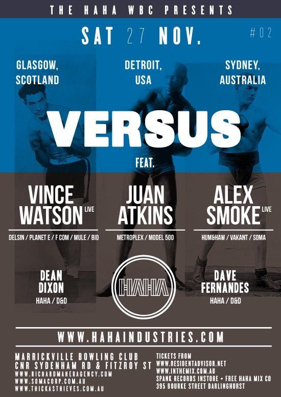 Versus with Vince Watson & Juan Atkins @ Marrickville Bowling Club, 27/11/10