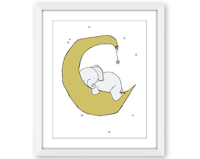 Unique Elefant Kindergarten Kunstdruck Elefant Mond und Sterne Traum Elefanten Kunstdruck