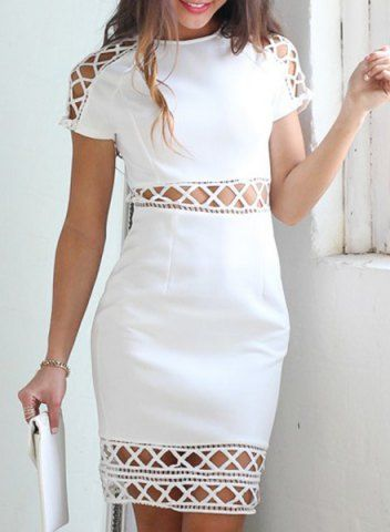 Short Sleeve Solid Color Cut Out Women's Dress