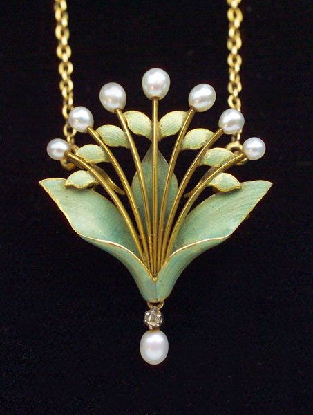 Andre Rambour Art Nouveau Lily-of-the-Valley Pendant/Brooch Gold Enamel Diamond Pearl Pendant, French, c.1900