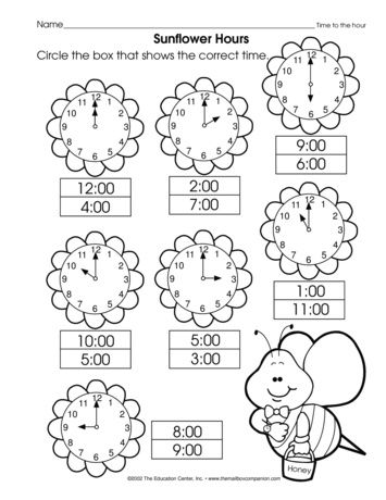A math worksheet that reviews telling time to the hour. A