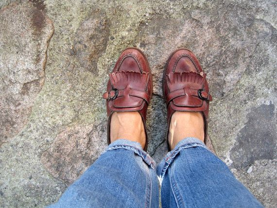 Loafers Vintage Brown Granny Shoes Fringe Leather door woolpleasure