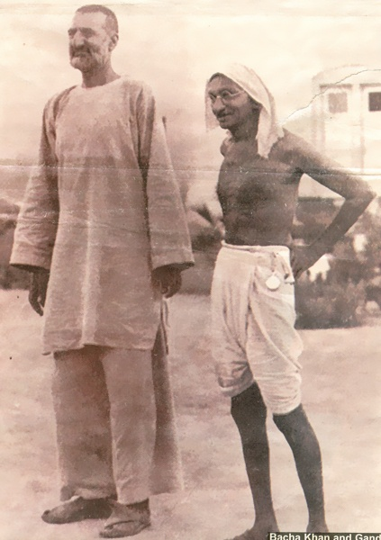 Abdul Ghaffar Khan was a devout Muslim and a Pathan chieftain who taught that true Islam means never hurting another person. This picture: Abdul Ghaffar Khan With Gandhi