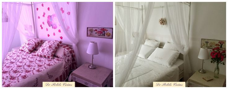 camera da letto shabby chic con parete a righe - shabby chic bedroon with stripped wall