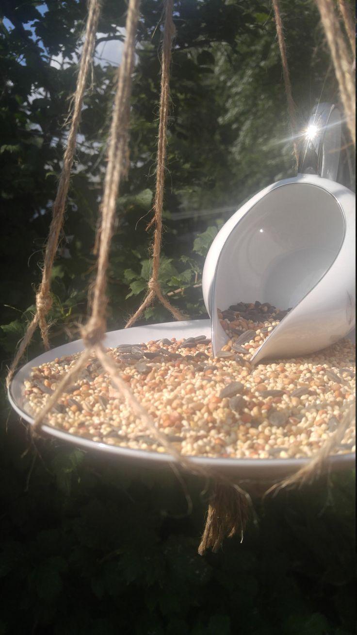 Gravy Boat Feeder, Recycled Bird Feeder, Porcelain Bird Feeder, Hanging Bird Feeder, Squirrel Proof Feeder, Unique Bird Feeder, Garden Decor by ThisUniqueHome on Etsy