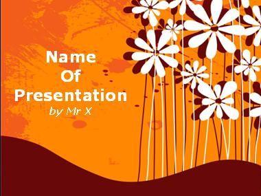 Plantilla Powerpoint de Diapositiva Flores sobre fondo naranja
