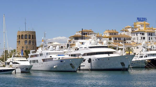 Celebrities and aristocrats favor Marbella as evidenced by the luxury cruise ships and mega yachts in its harbor. (Photo by Getty)