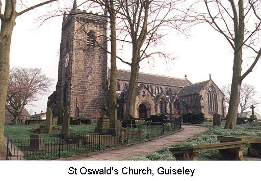 St Oswald's Church, Guiseley. The Bronte's father and mother married here in 1812.