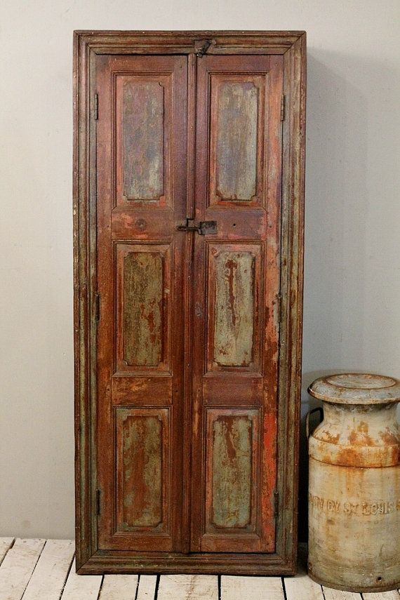 Antique Farm Chic Warm Industrial Green and Brown Indian Bar Storage Kitchen Bathroom Cabinet Media Tower Curio on Etsy, $529.00