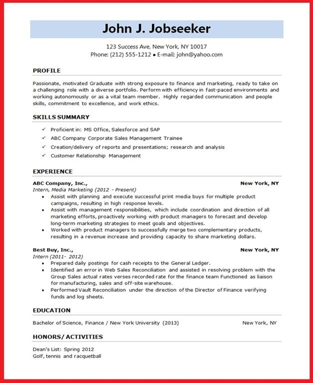 14 Best Images About Resumes On Pinterest Sample Of