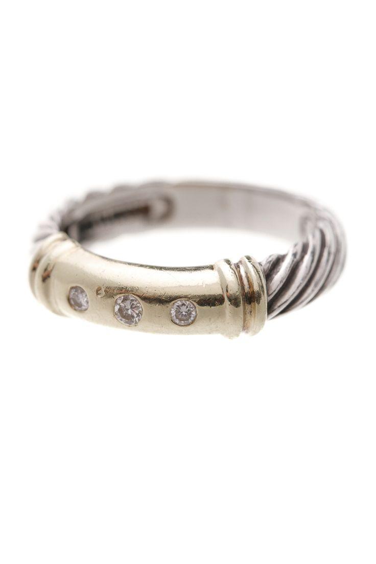 David Yurman Sterling Silver & 14k Gold Diamond Metro Cable Ring
