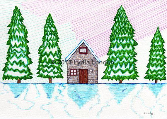 Canadian Winter Scene Letter Size by LydiaLondonArtCanada on Etsy